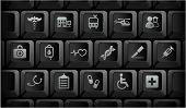 Постер, плакат: Медицинские иконки на черный компьютерной клавиатуры кнопки оригинальные иллюстрации