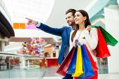 Its Shopping And Fun  Time. Cheerful  Successful Happy Young Lovely Couple In Jacket Holding  Color poster