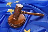 Judge gavel on European Union flag poster