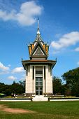 The Memorial Stupa Of The Choeung Ek Killing Fields Filled With The Skulls Of The Victims Of The Pol