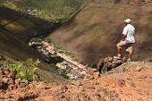 Hiker above Jamestown St Helena