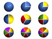 picture of pie chart  - 3D pie charts showing different selected percentages - JPG