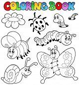 Libro de colorear con pequeños animales 2 - ilustración vectorial.