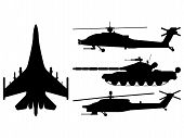 Fighter Aircraft, Tank, Helicopter Silhouette. Military Equipment Set Icon. Vector Illustration poster