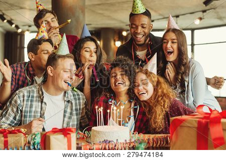 poster of Happy Friends At Birthday Party. Happy Birthday To You Concept