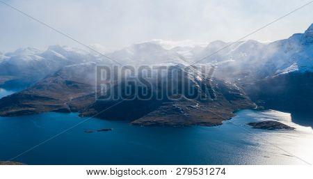 Mountain landscape nature aerial drone