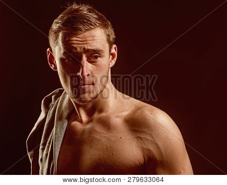 poster of Fit Concept. Handsome Man With Fit Shoulders. Fit And Healthy. Commit To Be Fit.