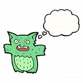 Cartoon Gremlin mit dachte Blase