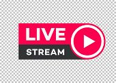 Vector Live Stream Icon Flat Style With Play Button Isolated On Transparent Background For Blog, Pla poster