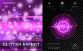 Realistic Light Effects Purple Template With Bright Spots Lens Flare Sparkle And Glitter Effects Vec poster