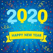 2020 Happy New Year Numbers With Balloons And Colored Confetti. Merry Xmas Vector Illustration With  poster