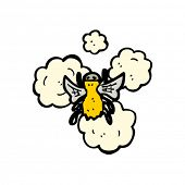 buzzing bee in flight cartoon