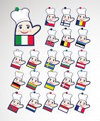 pic of courtier  - Set of international multicolored chefs icons - JPG