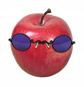 Red Apple With Purple Glasses