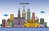 Chicago City Tour Cityscape Skyline Colorful Illustration poster