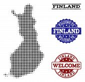 Welcome Combination Of Halftone Map Of Finland And Grunge Watermarks. Halftone Map Of Finland Design poster