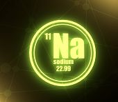 Sodium Chemical Element. Sign With Atomic Number And Atomic Weight. Chemical Element Of Periodic Tab poster