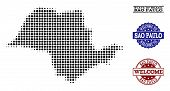 Welcome Composition Of Halftone Map Of Sao Paulo State And Unclean Watermarks. Halftone Map Of Sao P poster