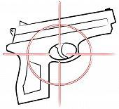 Hand Gun Outline W Cross Hair