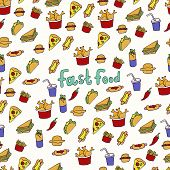 Doodle Illustration Of Fast Food. Seamless Pattern With Junk Food. Hand Drawn Vector Illustration Ma poster