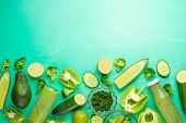 Green Vegetables On A Green Background. Composition Of Detox And Healthy Nutrition, Healthy Food Die poster