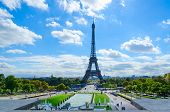 Scenic View Of Eiffel Tower, Trocadero Gardens On Sunny Day, Paris, France poster