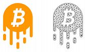 Polygonal Mesh Melting Bitcoin And Flat Icon Are Isolated On A White Background. Abstract Black Mesh poster