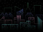 Modern City Skyline. Night City Vector Illustration. Outline Urban Vector Cityscape. Vector Cityscap poster