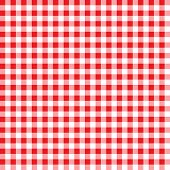 Firebrick Gingham Pattern. Textured Red And White Plaid Background. Tablecloth Background Red Seamle poster