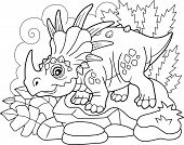 Cartoon Cute Prehistoric Dinosaur Styracosaurus, Coloring Book, Funny Illustration poster