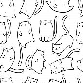 Hand Draw Funny Cats In Sketch Style. Vector Seamless Pattern. Cute Cartoon Kitten Characters. Textu poster