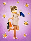 Contemporary Art Collage Full Length Portrait Of Happy Kitten Headed Woman, Leg Bent Back Carrying S poster