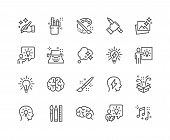 Simple Set Of Creativity Related Vector Line Icons. Contains Such Icons As Inspiration, Idea, Brain  poster