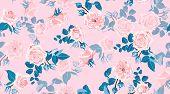 Pastel Floral Pattern, Vintage Pink Roses In Watercolor Style. Wedding Print, Retro Flowers Backgrou poster