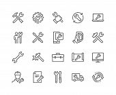 Simple Set Of Repair Related Vector Line Icons. Contains Such Icons As Screwdriver, Engineer, Tech S poster
