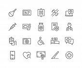 Simple Set Of Medical Related Vector Line Icons. Contains Such Icons As Doctor, Ultrasound, Case His poster