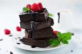 Brownie With Chocolate Sauce And Raspberry On Top, Freshly Baked Chocolate Dessert poster