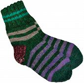 Warm Green Grey Violet Purple Striped Knitted Wool Camp Socks, Large Detailed Isolated Macro Closeup poster