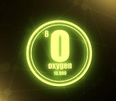 Oxygen Chemical Element. Sign With Atomic Number And Atomic Weight. Chemical Element Of Periodic Tab poster