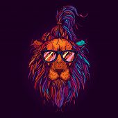 Original Vector Hipster Illustration. Lion With Glasses, Neon Retro Style. Design For T-shirt Or Sti poster