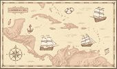 Old Caribbean Sea Map. Ancient Pirate Routes, Fantasy Sea Pirates Ships And Vintage Pirate Maps Vect poster