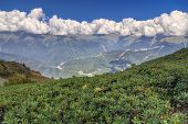 Beautiful Scenic Landscape Of Caucasus Mountain Ridge Covered With Range Of Cumulus Clouds On Sunny  poster