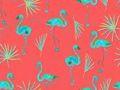 Large Flamingo Hipster Red Hawaiian Seamless Pattern. Spring Saturated Watercolor T-shirt Print. Sat poster