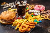 Junk Food Concept. Unhealthy Food Background. Fast Food And Sugar. Burger, Sweets, Chips, Chocolate, poster