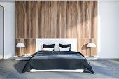 Wooden Bedroom Interior poster