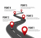Road Infographic. Curved Road Timeline With Red Pins Checkpoint. Strategy Journey Highway With Miles poster