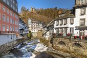 Authentic Fachwerk Buildings In The Village Of Monschau Eifel Germany poster