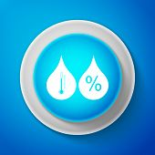 Humidity Icon Isolated On Blue Background. Weather And Meteorology, Thermometer Symbol. Circle Blue  poster