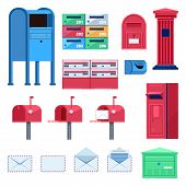Post Mailbox Vector Flat Illustration. Letters And Postboxes Isolated Icons. poster