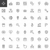 Gaming Elements Line Icons Set. Linear Style Symbols Collection, Outline Signs Pack. Vector Graphics poster